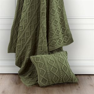 Cable Knit Throw Blanket - Green